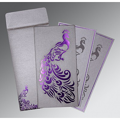 Shimmery Peacock Themed - Laser Cut Wedding Invitation : CW-8255C - IndianWeddingCards