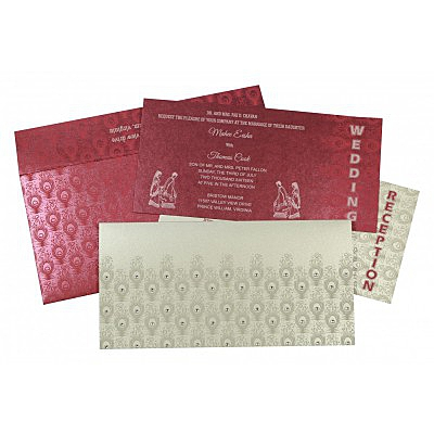 Shimmery Peacock Themed - Screen Printed Wedding Invitation : CD-8256G - IndianWeddingCards