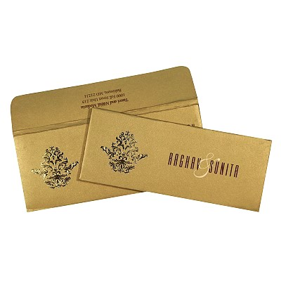 Shimmery Pocket Themed - Screen Printed Wedding Card : CW-1727 - IndianWeddingCards