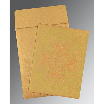 Shimmery Screen Printed Wedding Card : CC-8244G - IndianWeddingCards