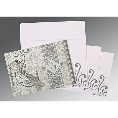 Shimmery Screen Printed Wedding Card : CD-8223A - IndianWeddingCards