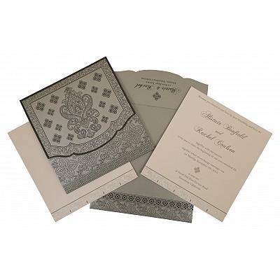 Shimmery Screen Printed Wedding Invitation : CRU-800E