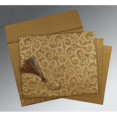 Shimmery Screen Printed Wedding Invitation : CS-8217C - IndianWeddingCards