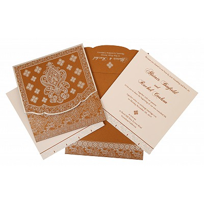 Shimmery Screen Printed Wedding Invitations : CW-800B - IndianWeddingCards