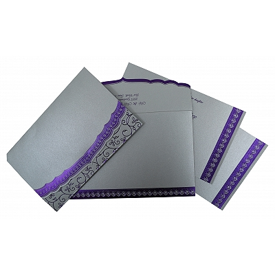 Silver Shimmery Foil Stamped Wedding Invitation : CW-806A - IndianWeddingCards