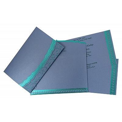 Sky Blue Shimmery Foil Stamped Wedding Invitation : CC-806D - IndianWeddingCards