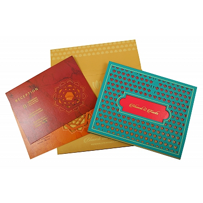 Turquoise Matte Box Themed - Laser Cut Wedding Invitation : CD-1848 - IndianWeddingCards