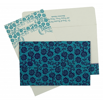 Turquoise Matte Floral Themed - Screen Printed Wedding Invitation : CS-810E - IndianWeddingCards
