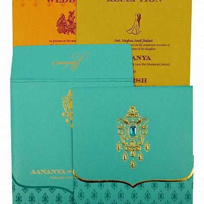 Turquoise Shimmery Paisley Themed - Foil Stamped Wedding Invitation : CSO-1872 - IndianWeddingCards