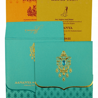Turquoise Shimmery Paisley Themed - Foil Stamped Wedding Invitation : CW-1872 - IndianWeddingCards