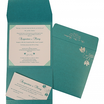 Turquoise Shimmery Screen Printed Wedding Invitation : CIN-803A
