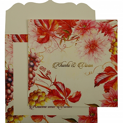 White Matte Floral Themed - Offset Printed Wedding Invitation : CI-1912 - IndianWeddingCards