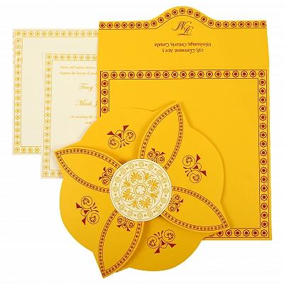 Yellow Butterfly Themed - Screen Printed Wedding Invitation : CI-820C - IndianWeddingCards