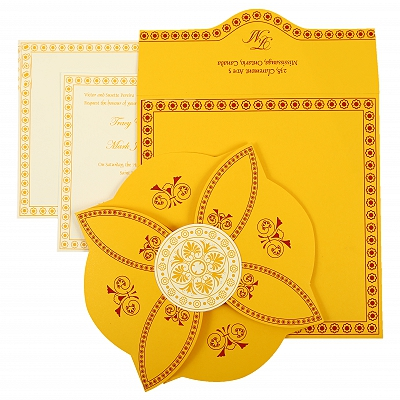 Yellow Butterfly Themed - Screen Printed Wedding Invitation : CS-820C - IndianWeddingCards