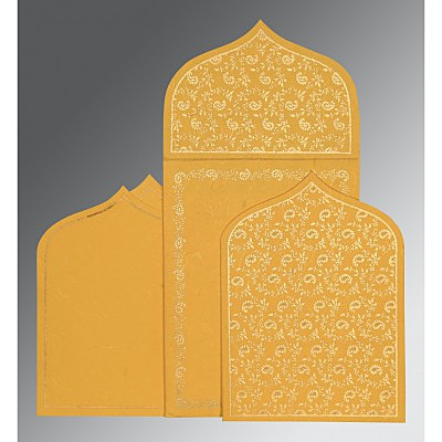 Yellow Handmade Silk Paisley Themed - Glitter Wedding Invitation : CW-8208N - IndianWeddingCards