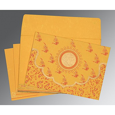 Yellow Handmade Silk Screen Printed Wedding Invitation : CD-8207O - IndianWeddingCards