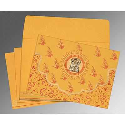 Yellow Handmade Silk Screen Printed Wedding Invitation : CSO-8207O - IndianWeddingCards