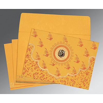Yellow Handmade Silk Screen Printed Wedding Invitations : CW-8207O - IndianWeddingCards