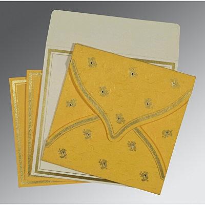 Yellow Handmade Silk Unique Themed - Screen Printed Wedding Card : CD-8203A - IndianWeddingCards