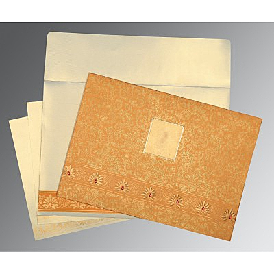 Yellow Matte Embossed Wedding Invitations : CD-1296 - IndianWeddingCards