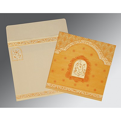 Yellow Matte Embossed Wedding Invitation : CIN-2212 - IndianWeddingCards