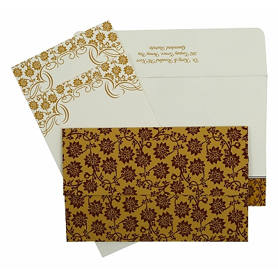 Yellow Matte Floral Themed - Screen Printed Wedding Invitation : CIN-810C
