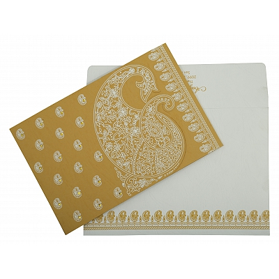 Yellow Matte Paisley Themed - Screen Printed Wedding Invitation : CIN-807C