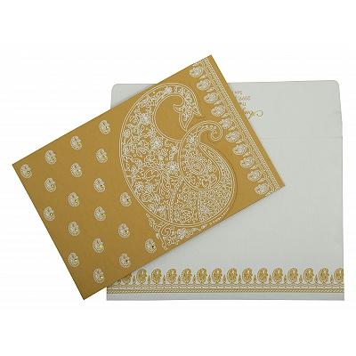 Yellow Matte Paisley Themed - Screen Printed Wedding Invitation : CS-807C - IndianWeddingCards