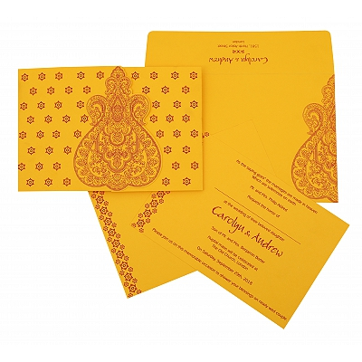 Yellow Paisley Themed - Screen Printed Wedding Invitation : CS-801A - IndianWeddingCards