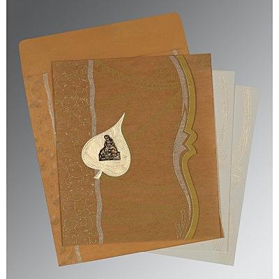 Yellow Wooly Embossed Wedding Card : CG-8210O - IndianWeddingCards
