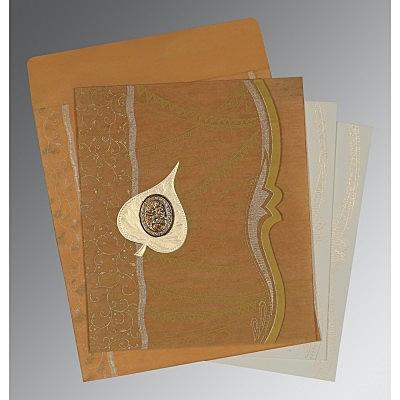 Yellow Wooly Embossed Wedding Card : CI-8210O - IndianWeddingCards
