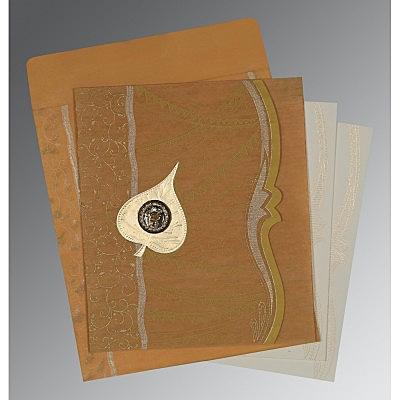 Yellow Wooly Embossed Wedding Card : CS-8210O - IndianWeddingCards