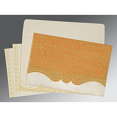 Yellow Wooly Embossed Wedding Invitation : CS-8221H - IndianWeddingCards