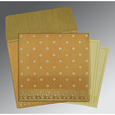 Yellow Wooly Floral Themed - Screen Printed Wedding Invitations : CD-8218N - IndianWeddingCards