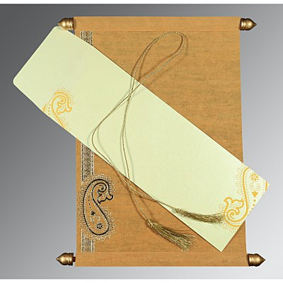 Yellow Wooly Foil Stamped Wedding Card : CSC-5015M - IndianWeddingCards