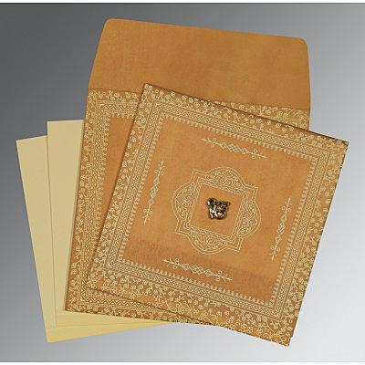 Yellow Wooly Glitter Wedding Card : CS-8205D - IndianWeddingCards
