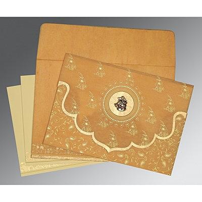 Yellow Wooly Screen Printed Wedding Invitation : CC-8207F - IndianWeddingCards