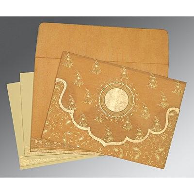 Yellow Wooly Screen Printed Wedding Invitation : CD-8207F - IndianWeddingCards