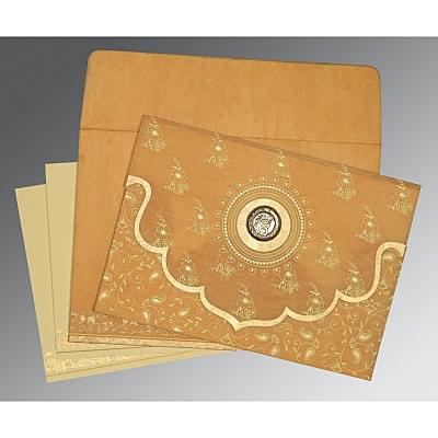 Yellow Wooly Screen Printed Wedding Invitation : CS-8207F - IndianWeddingCards