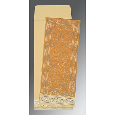 Yellow Wooly Screen Printed Wedding Invitation : CW-8220O - IndianWeddingCards
